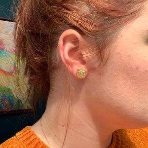 Kate spade square gold glitter earrings
